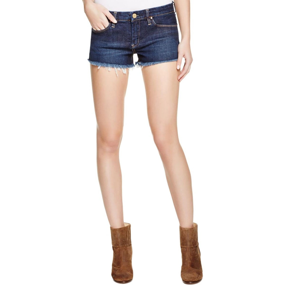 fd92eabe2b Shop [BLANKNYC] Womens Little Queenie Denim Shorts Unhemmed Dark Wash -  Free Shipping On Orders Over $45 - Overstock.com - 17404013
