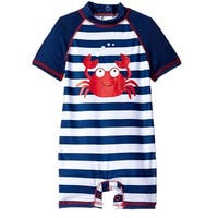 Wippette Baby Boys Navy Stripes Cute Crabby Rashguard with Easy Snaps Swimsuit