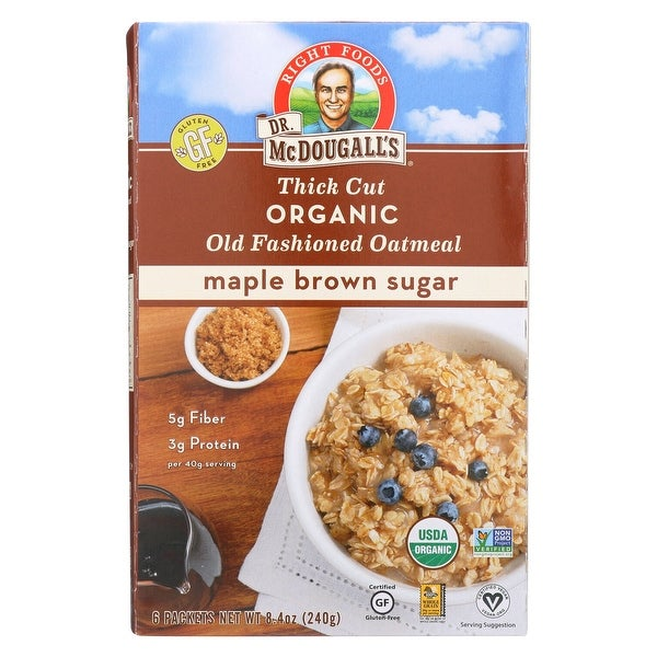 Dr. McDougall's Thick Cut Organic Maple Brown Sugar Oatmeal - Case of 8 - 8.4 oz.