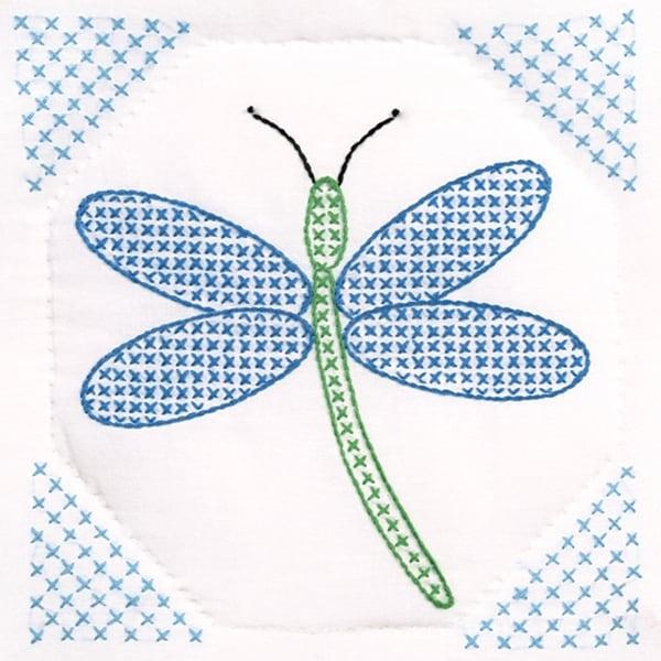 "Stamped White Quilt Blocks 9""X9"" 12/Pkg-Dragonfly"