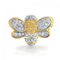 Bling Jewelry Gold Plated Cubic Zirconia Bumble Bee Brooch Pin