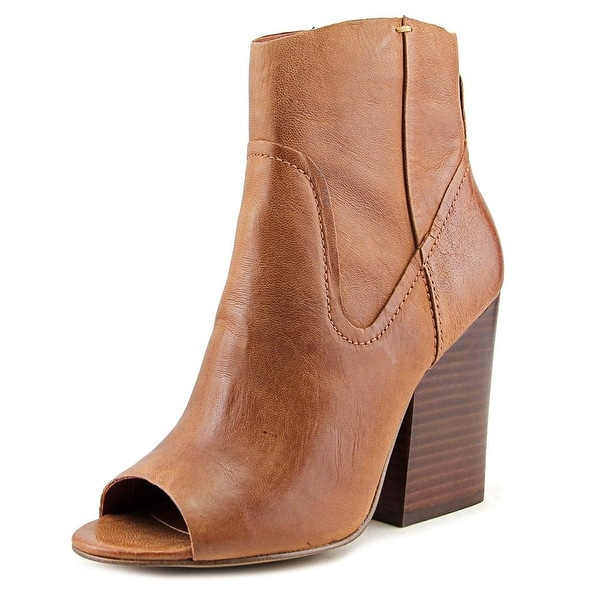7e2042b019e Shop Steve Madden Veronah Women Peep-Toe Leather Brown Bootie - Free ...