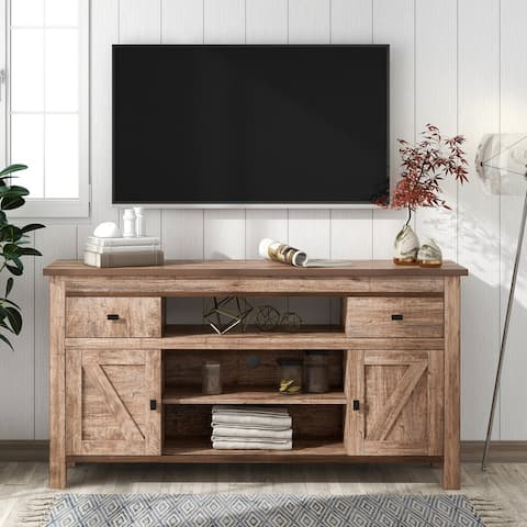 TV Stand with 2 Drawers and Shelves Sliding Doors and Adjustable Shelf