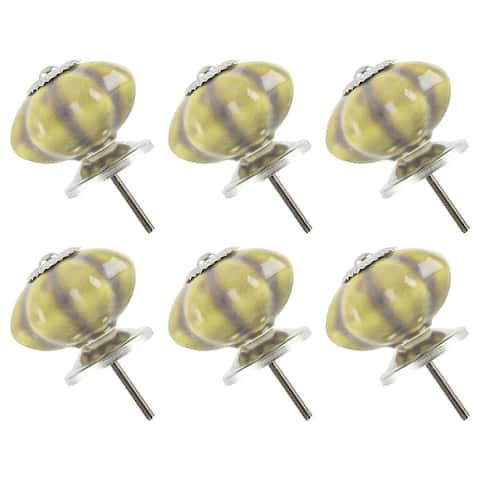 Ceramic Knob Hand Painted Drawer Pull Handle Cabinet Accessory 41mm, Yellow 6pcs