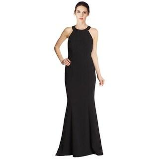 Carmen Marc Valvo Beaded Crepe Sleeveless Trumpet Evening Gown Dress - 6
