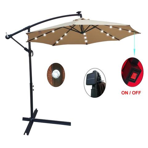 Nestfair Outdoor Patio Umbrella Solar Powered LED Lighted Sun Shade Market Waterproof Umbrella