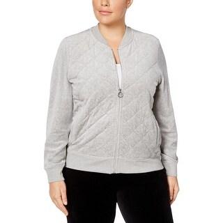 Calvin Klein Womens Plus Bomber Jacket Fall Velour - 2x