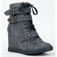 Nature Breeze Women Halston-01 Boots - Black pu