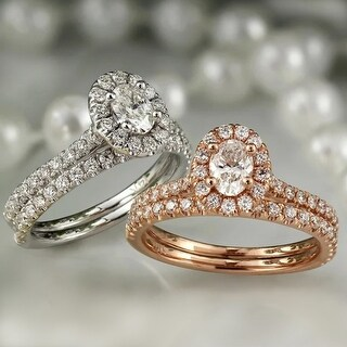 Auriya 14k Gold 1ctw Halo Oval Diamond Engagement Ring Set
