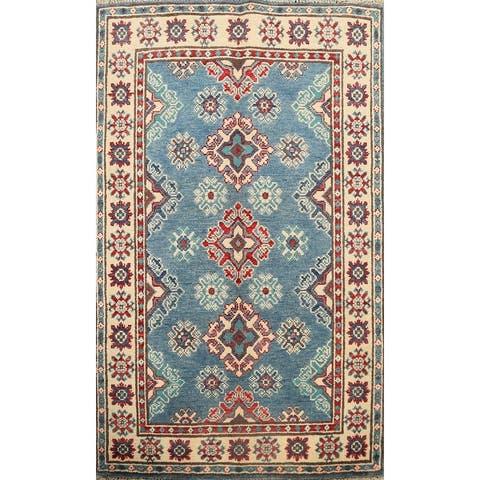 "Geometric Oriental Traditional Kazak Area Rug Hand-knotted Wool Carpet - 2'9"" x 4'1"""