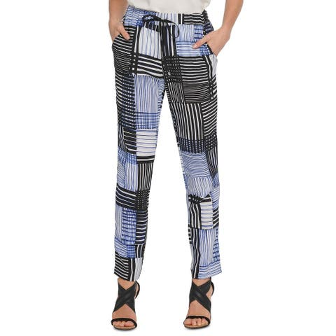 DKNY Women's Printed Pull-On Pants Blue Size Extra Small - X-Small