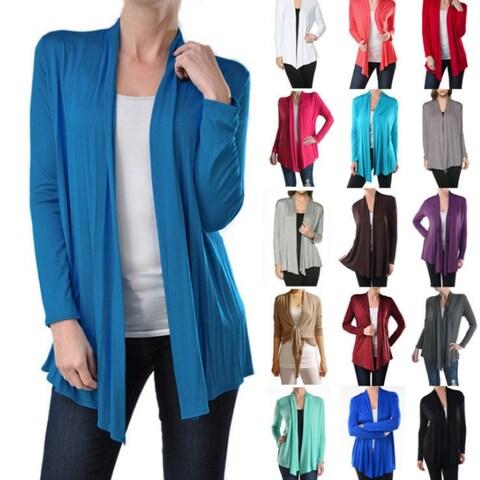 Womens Open Drape Cardigan Cardigan Sweater Long Sleeves