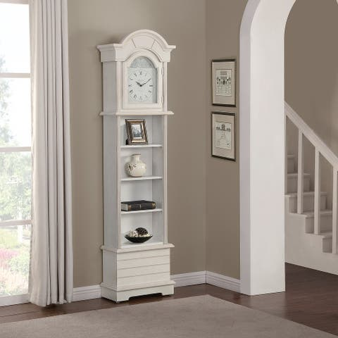FirsTime & Co.® Shiplap Grandfather Clock, American Crafted, Shabby White, Wood, 19.25 x 8.5 x 72 in - 19.25 x 8.5 x 72 in