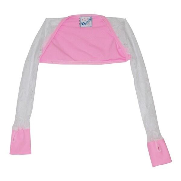 2379648a3 Shop Girls Pink White Lace Detail Long Sleeved Dancewear Shrug ...