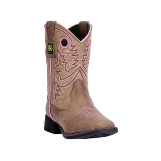 John Deere Western Boot Girl Kids Broad Toe Steel Shank Brown JD2021