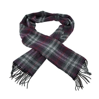 100% Cashmere Purple / Green Pixel Plaid Fringed Scarf