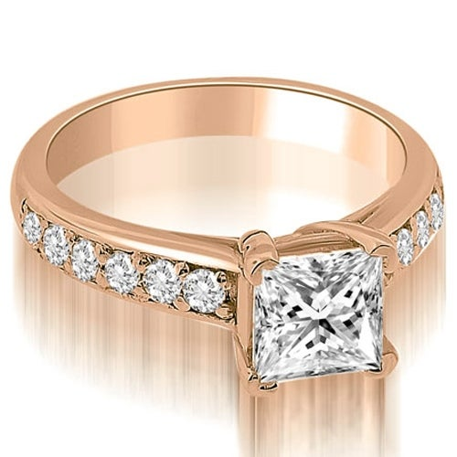 0.80 cttw. 14K Rose Gold Cathedral Princess Cut Diamond Engagement Ring