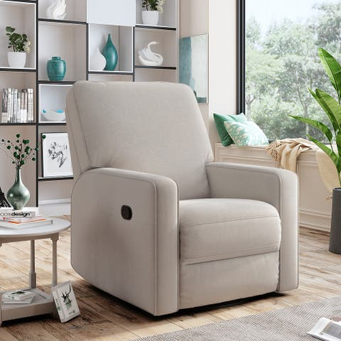 Manual Swivel and Rocking Recliner Chair with Padded Seat