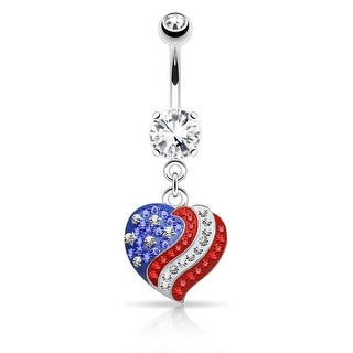"Crystal Pave American Flag Heart Dangle Surgical Steel Navel Ring - 14GA - 3/8"" Length (Sold Ind.)"