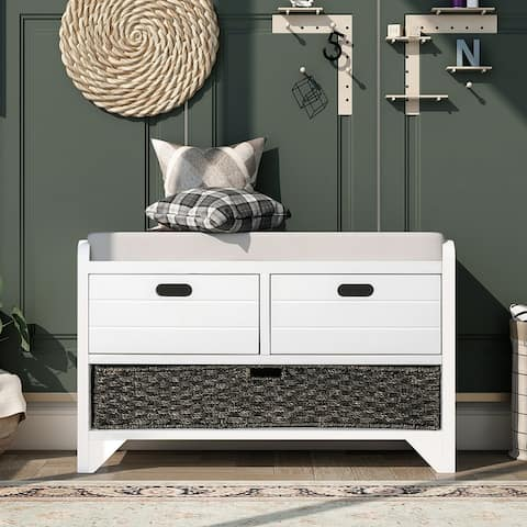 Storage Bench Fully Assembled Shoe Bench White