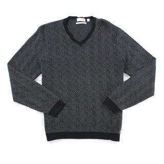 Calvin Klein NEW Black Grey Mens Size Small S Slim V-Neck Silk Sweater