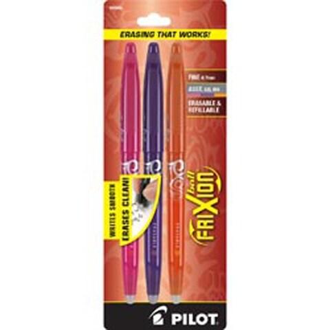 Purple; Pink & Orange - Pilot Frixion Fine Point Erasable Gel Pens 3/Pkg