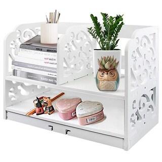 DL furniture - 3 Compartment Wood Plastic Composite Desk Organizer, Perfect Book Shelf, Make Up Organizer, Cookie Rack w Base