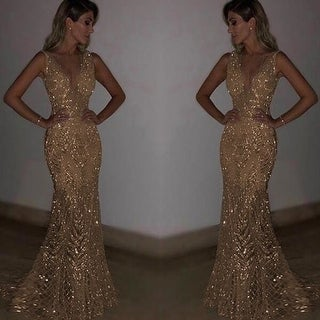 Link to Sleeveless Deep V Dress Sequined Dress Similar Items in Dresses
