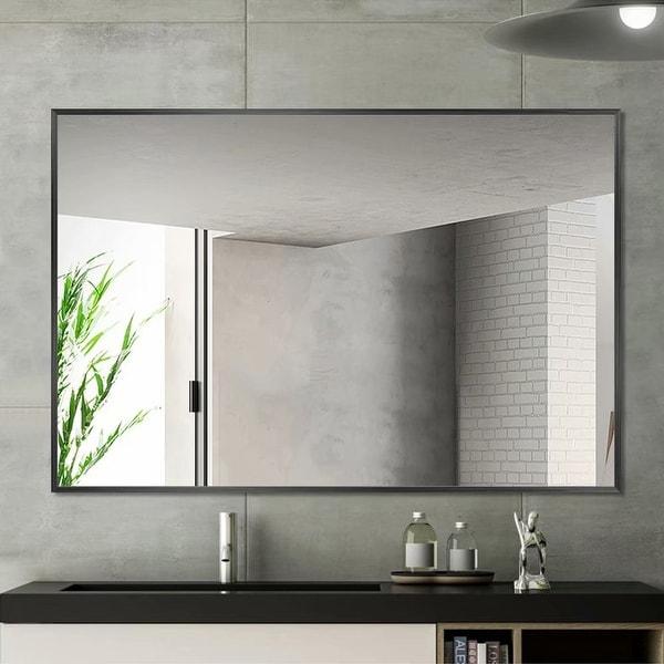 Carbon Loft Aluminum Alloy Frame Rectangular Wall-mounted Bathroom Mirror. Opens flyout.