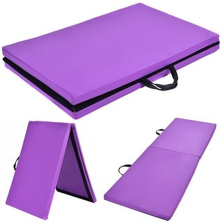 Costway 6'x24''X1.5'' Gymnastics Mat Thick Two Folding Panel Gym Fitness Exercise Purple