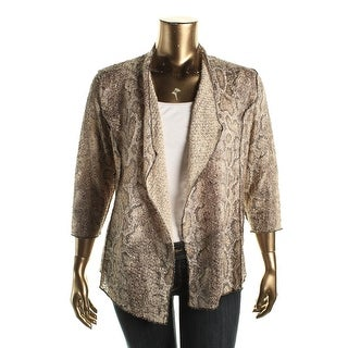 Alfred Dunner Womens Animal Print Open Front Cardigan Top