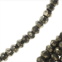 Pyrite Natural Gemstone Bead Strands, Facected Rondelles 2x3mm, 1 Strand, Gold