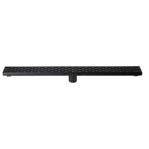 """32"""" Black Matte Stainless Steel Linear Shower Drain with Groove Holes"""