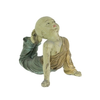 Beautiful Aged Finish Child Monk Yoga Bow Pose Statue 8,5 Inches High - 6.75 X 6.5 X 7 inches