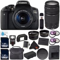 Canon EOS Rebel T6i/750D DSLR Camera with 18-55mm Lens (International Version) + Canon EF 75-300mm f/4-5.6 III Lens Bundle