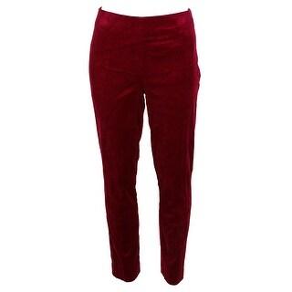 Lauren Ralph Lauren Burgundy Skinny-Fit Velvet Pants 10