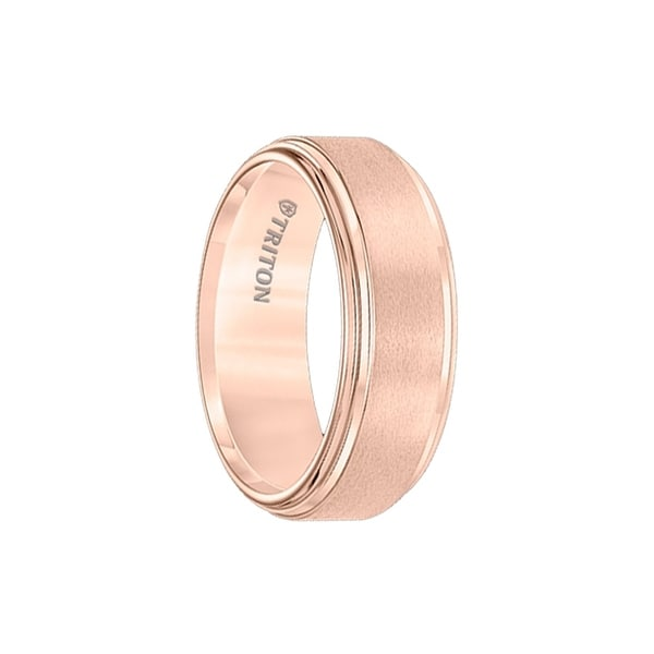 ROXBURY Polished Double Step Edged Rose Gold Plated Tungsten Band with Satin Center by Triton Rings - 8mm