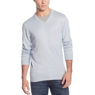 American Rag Lightweight Cotton V-Neck Sweater Bachelor Blue X-Large