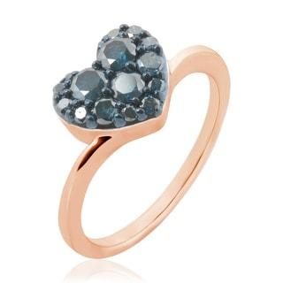 Brand New 0.75 Carat Round Brilliant Cut Blue Diamond Heart Shaped Ring