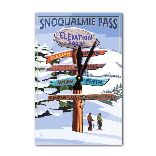 Snoqualmie Pass, WA - Ski Signpost - LP Artwork (Acrylic Wall Clock) - acrylic wall clock