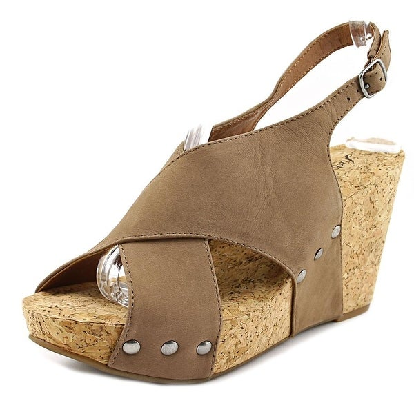 Lucky Brand Minari   Open Toe Leather  Wedge Sandal