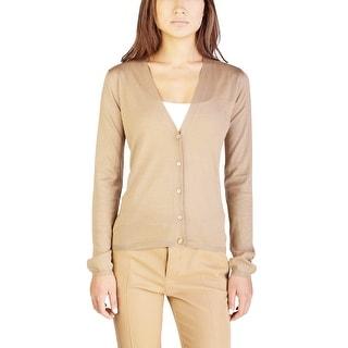 Miu Miu Women's Cashmere Silk Blend Cardigan Sweater Brown