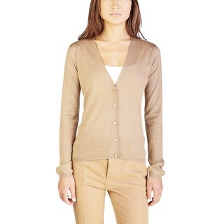 Miu Miu Women's Cashmere Silk Blend Cardigan Sweater Brown