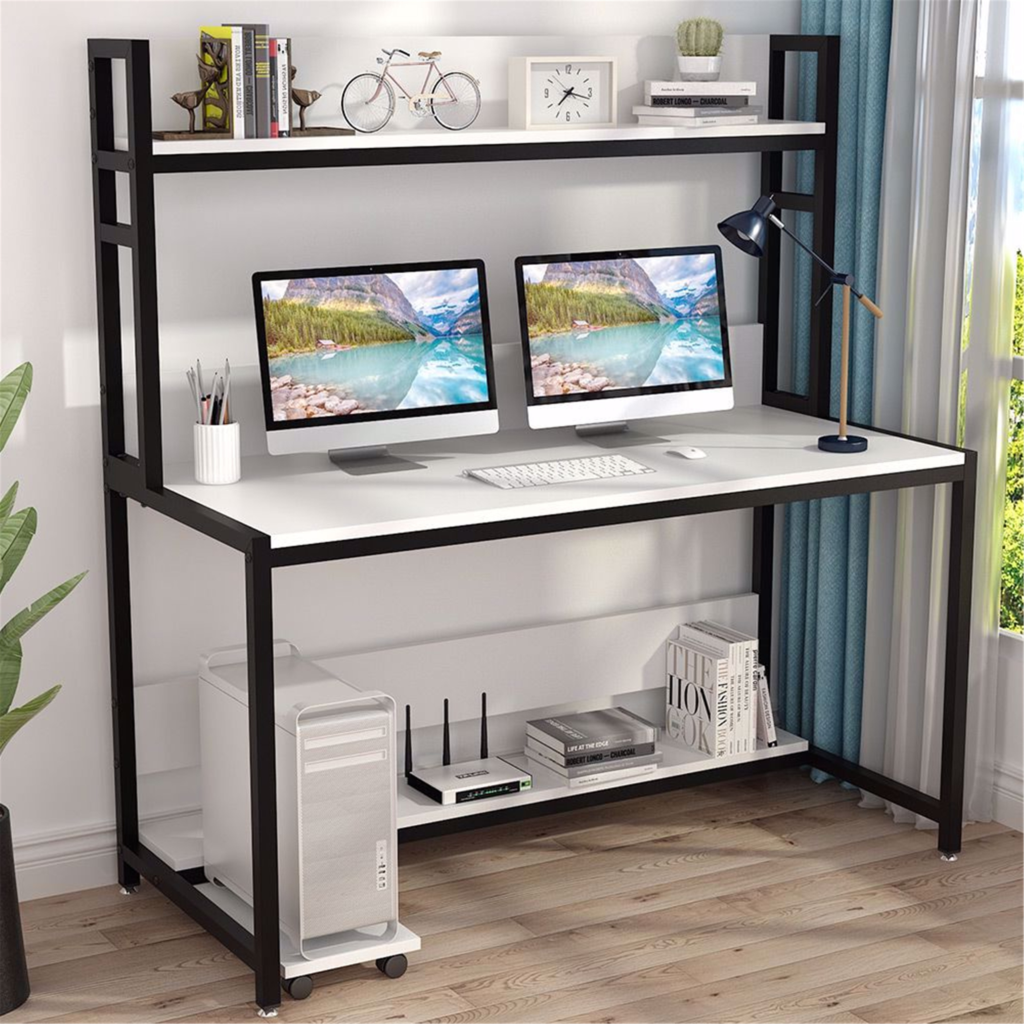 44 Inches Large Computer Desk with Hutch