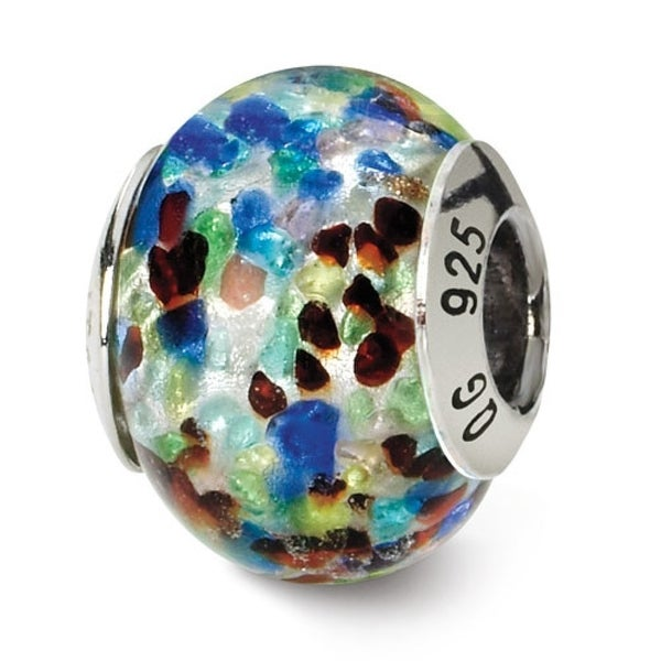 Italian Sterling Silver Reflections Silver/Blue/Red Bead (4mm Diameter Hole)