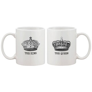 The King and Queen Couple Mugs - His and Hers Matching Coffee Mug Cup Set - Perfect Valentines Day Gift for Couples