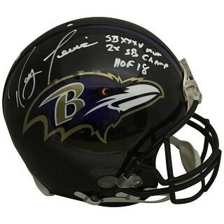 Ray Lewis Autographed Baltimore Ravens Full Size Authentic Proline Super Bowl MVP HOF Helmet Becket