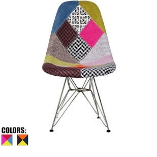 2xhome Modern Side Dining Chair Patchwork Fabric With Wire Chrome Legs Base