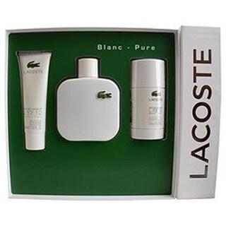 Lacoste 286006 3 Piece Eau De L.12.12 Blanc Variety Gift Set for Men