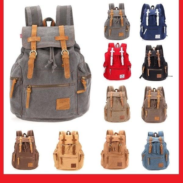 fbcff870d1c4 Travel Canvas Backpack Sport Rucksack Camping School Satchel Laptop Hiking  Bag